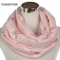 FOXMOTHER 2017 New Fashion Black Pink Bronzing Rose Gold Foil Bird Butterfly Infinity Scarves Loop Ring
