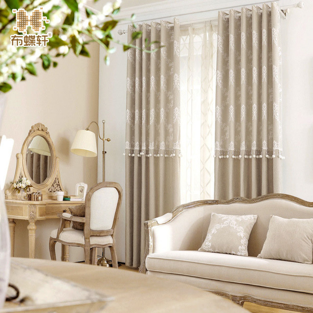 Korean Pink Living Room Beaded D Elegant Cashmere Like Light Coffee Blackout Curtains For Bedroom