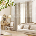 Korean Pink Living Room Beaded Drapes Elegant Cashmere-like Light Coffee Blackout Curtains for Bedroom Floral Perspective Window
