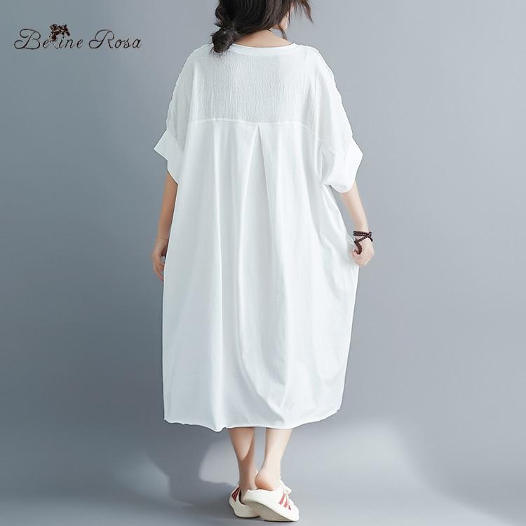 Image 3 - BelineRosa Muslim Style Womens Shirt Dress Big Sizes Dress 4XL  5XL 6XL Plus Size Dress T shirts Dresses Female YPYC0012Dresses   -