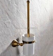 Античная Латунь Настенные Ванная Керамическая Чашка и Латунь Держатель Для Туалетной Щетки Wba149