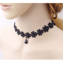 Hot Women's Fashion Necklace Black Lace Collar Choker Statement Bib Pendant Jewelries Choker Accessory Shocking Price Necklaces(China)