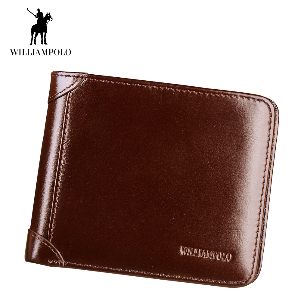 WilliamPOLO Men Wallet Short Credit Card Holder Bifold Trifold Genuine Leather Multi Card Case Organizer Purse Black Brown New new arrival short wallets genuine leather black brown brand bifold wallet mens small vintage leather men card holder