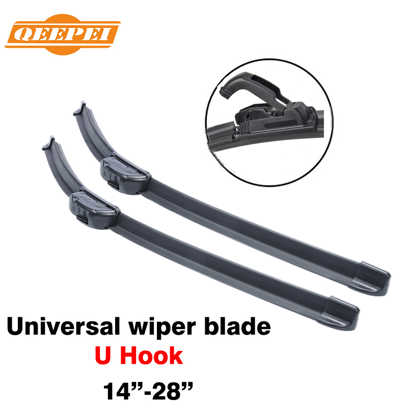 QEEPEI 14'' - 28'' inch universal u hook u-type frameless wipers top quality silicone rubber blade soft car windshield windscreen