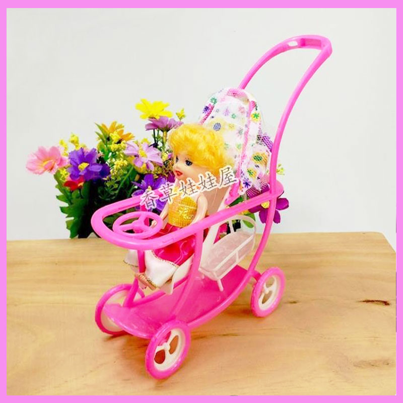 Kids Birthday Gift Plastic Baby Stroller for Doll Dollhouse Furniture Pretend Play Simul ...