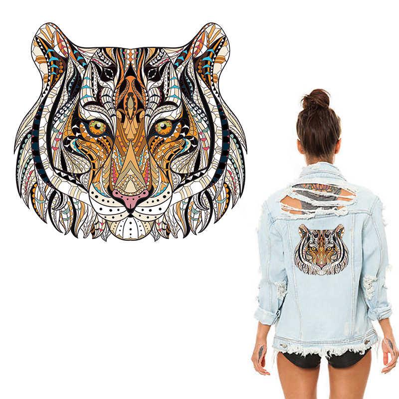 XC fajne 3D tygrys zwierząt ubrania łatki naklejki na topy gospodarstwa domowego żelaza i staje w sytuacji sam na sam transfery DIY dekoracje Appliqued dla kobiet skrzynki