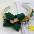 2016 Catwalk Baroque Hairband Gold Plated Crystal Flower Leaves Headband With Silk Bow Bridal Hair Ornament Wedding Accessories