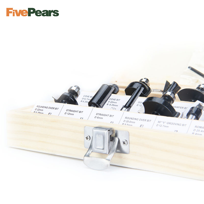 FivePears 12pcs 6mm Router Bits Set Professional Shank Tungsten Carbide Router Bit Cutter Set With Wooden Case For Wood free shipping pro grade 50pcs tungsten carbide 1 2inch router bits set with wooden case