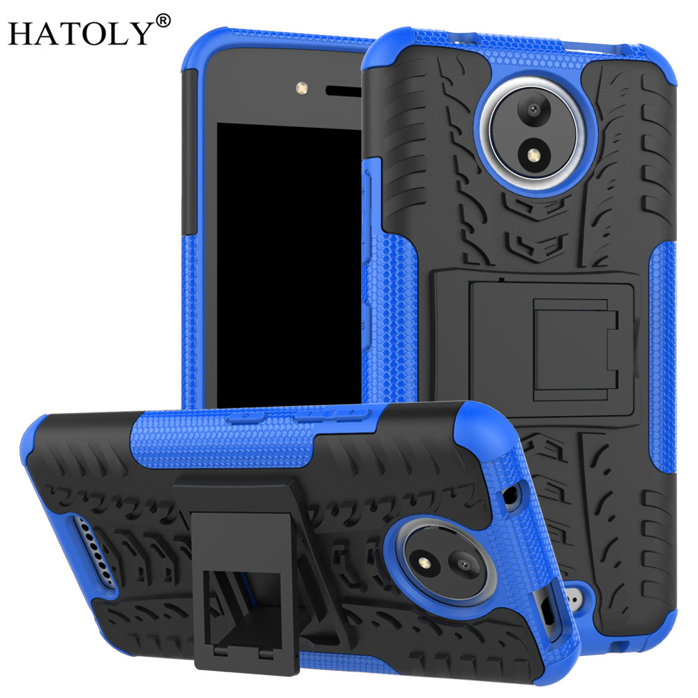 HATOLY For Cover Motorola Moto C Case 5.0 Armor Silicone Hard Plastic Case For Motorola Moto C XT1755 with Holder Stand]
