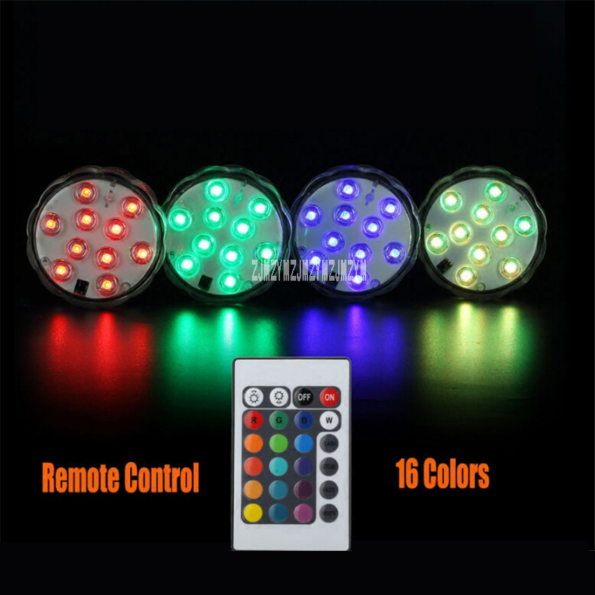 New 100 X RGB 10 Colorful Led Submersible Light Battery Operated IP68 Waterproof Underwater Swimming Pool Wedding Party Lighting in Holiday Lighting from Lights Lighting