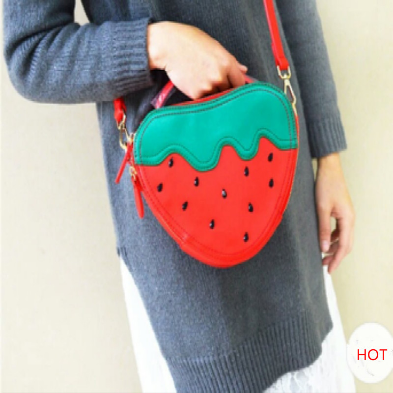 Kawaii Cute Red Strawberry Shaped Dot Print Girls' Shoulder Messenger Bags Small PU Hard Phone Purse Stereotypes Chain Handbag dachshund dog design girls small shoulder bags women creative casual clutch lattice cloth coin purse cute phone messenger bag