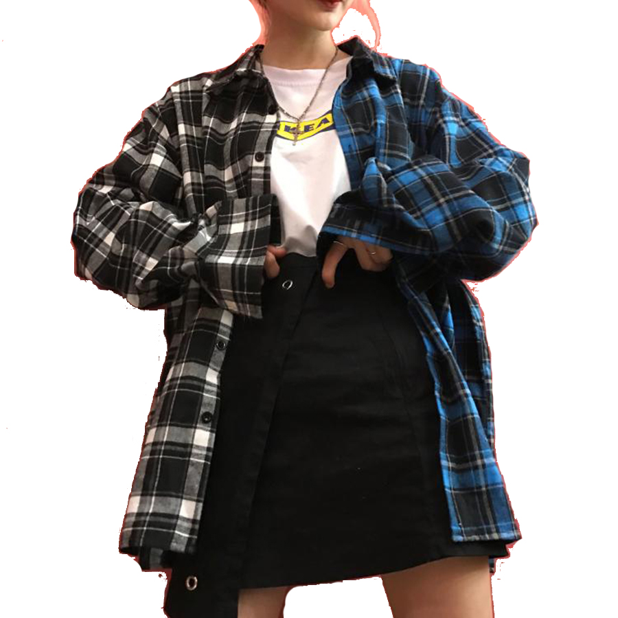 Loose Plaid Shirt Women Casual Long Sleeve Patchwork