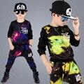 Мальчики одежда наборы печати pattern дети одежда мода Хип-Хоп панк стиль мальчик спортивный костюм с длинным рукавом детская одежда спортивный костюм