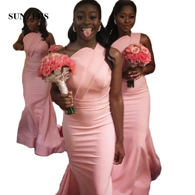 One Shoulder Pink Jersey   Bridesmaid     Dresses   Long Simple Party   Dress   for Women robes de demoiselle d'honneur