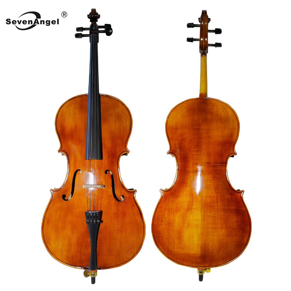SevenAngel Handcraft Oil Varnish Antique Cello 4/4 Natural Flamed Grade AAA Spruce Panel ViolonCello Musical Instruments tongling full size oil finished professional cello 4 4 3 4 1 2 1 4 antique natural flamed violoncello ebony fitted