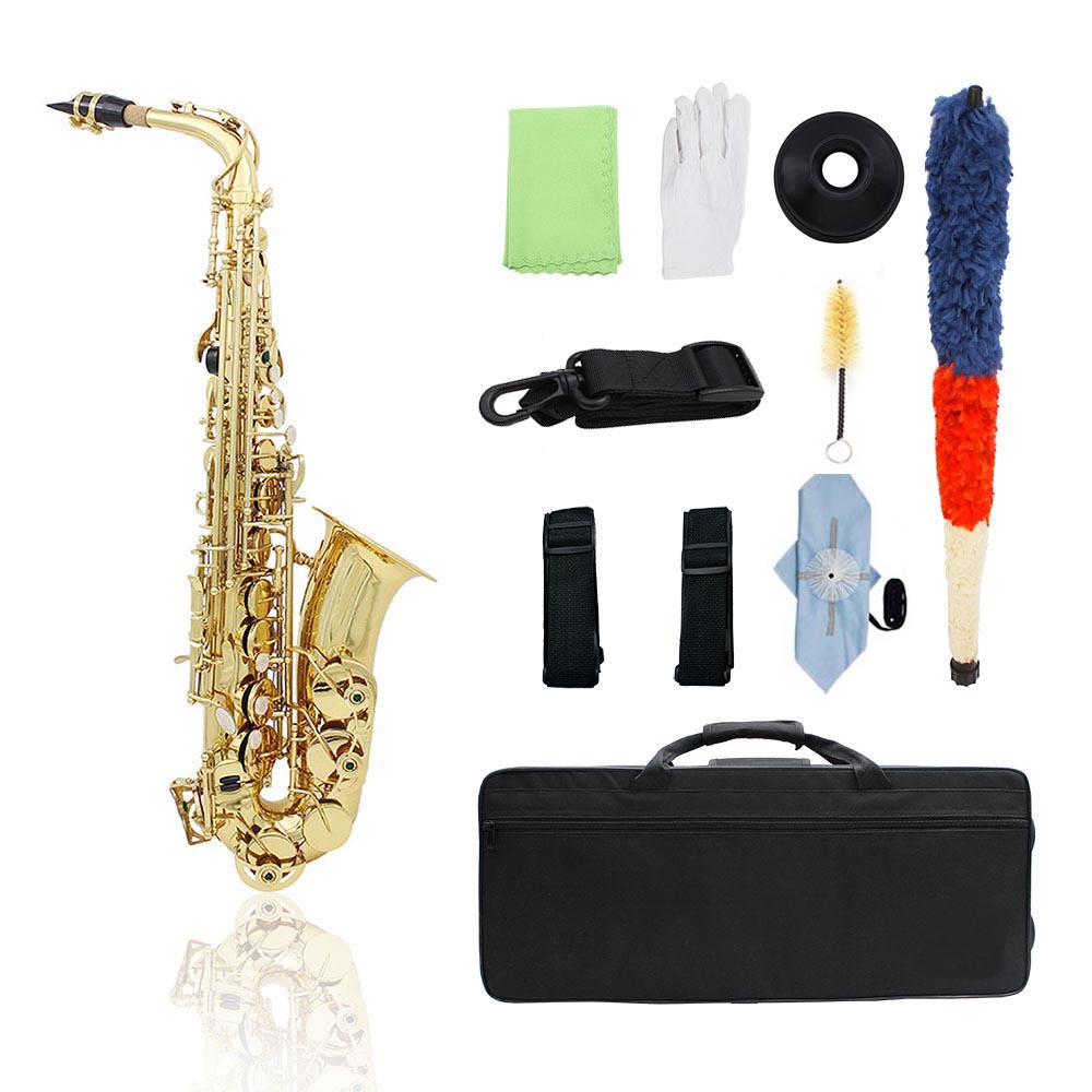 Brass Eb Alto Saxophone Sax Lacquered Gold Woodwind Instrument with Carry Case Gloves Cleaning Cloth Brush Sax Strap