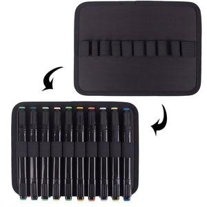 Image 3 - 60 entalhe que transportam o suporte da caixa do marcador organizador com zíper dos marcadores da lona para a pena de marcador da arte, caixa gêmea dos marcadores permanentes da ponta