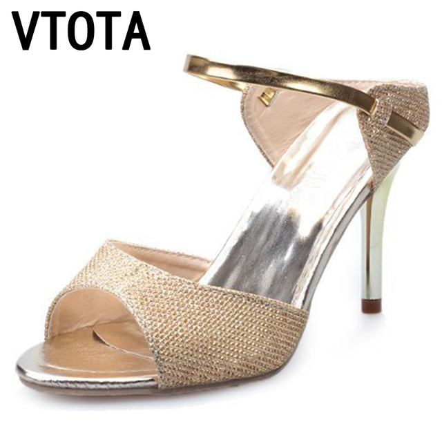 90b77e3b4cf VTOTA 2017 Fashion High-Heeled Shoes Gold Silver High Heels Pumps Sexy  Women s Wedding Shoes Womens Shoes Thin Heel Sandals P97