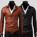 2014 Special Offer Top Fasion Autumn Male Leather Clothing Turn-down Collar Short Outerwear Slim Design Fashion Pu Motorcycle