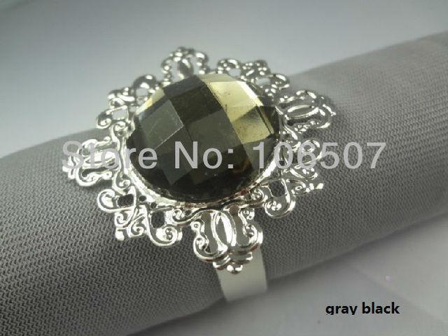 50 pcs  Gray black Gem Napkin Rings Wedding Bridal Shower Favour-FREE SHIPPING