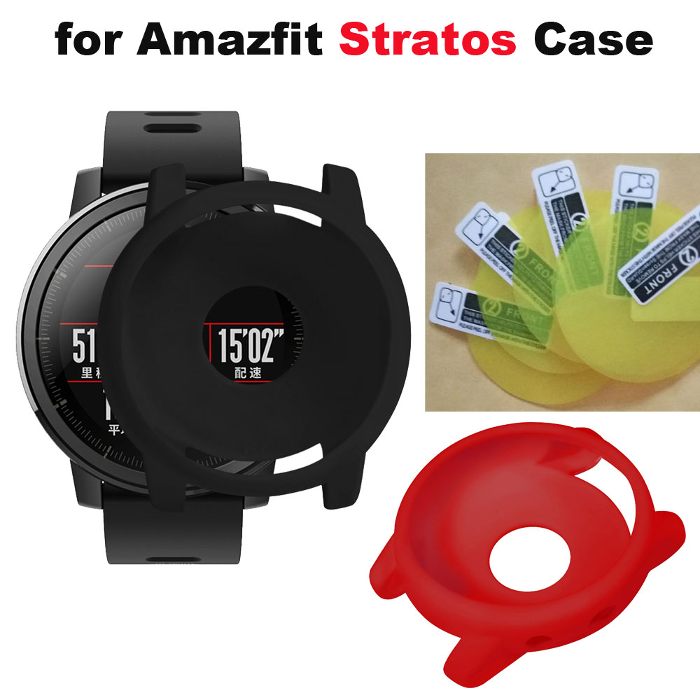 6/Pack for Xiaomi Huami Amazfit Stratos 2 Smart Watch Protective Case Screen Protectior Pantalla Film Black Protectior Cases