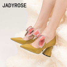 Women Sexy Pointed Toe Pumps Yellow Black Leather Formal Dress Party Ladies Shoes Big Bowknot High Heels Valentines Stilettos