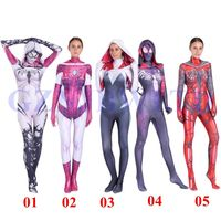 Gwen Stacy Costume Cosplay Women Girls Venom Spider Spiderman Hoodie Spandex Lycra Zentai Suit Superhero Bodysuit Jumpsuits