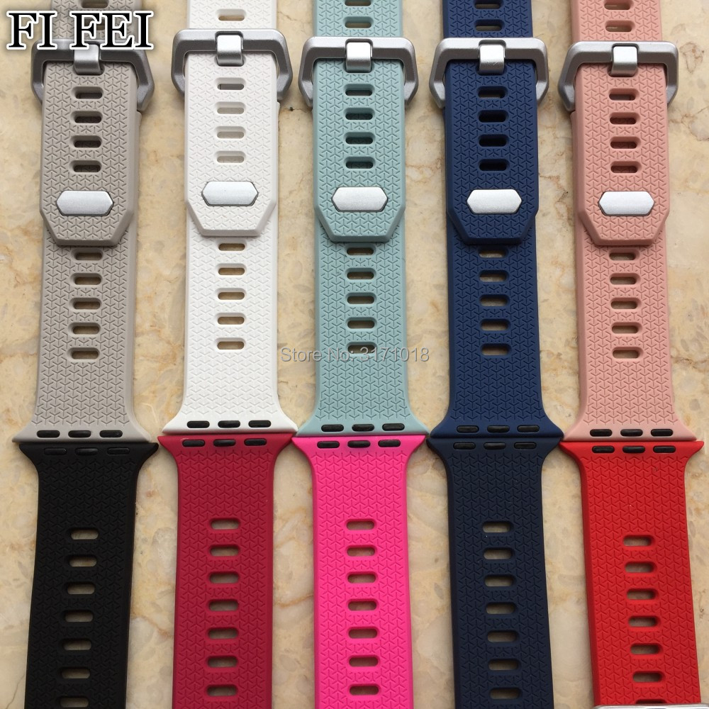 FI FEI Colorful Sports soft silicone Band For Apple watch Series 3 2 1 38mm 42mm Replace Bracelet Strap watchband Watchstrap jansin 22mm watchband for garmin fenix 5 easy fit silicone replacement band sports silicone wristband for forerunner 935 gps