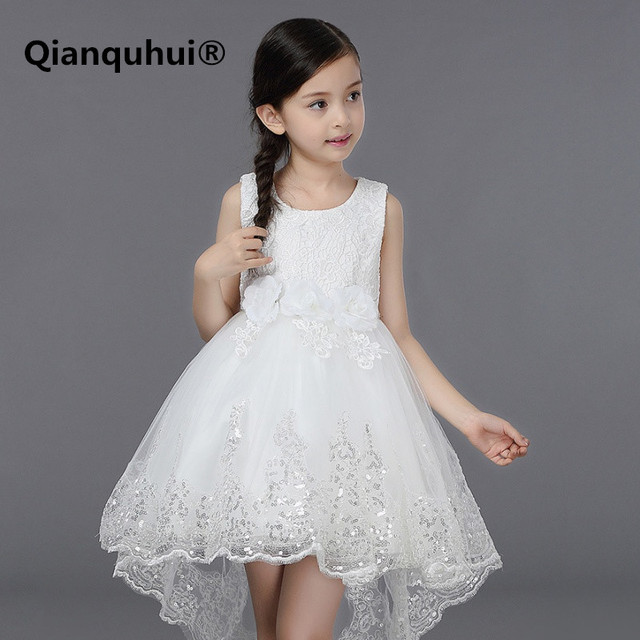 f710e0091 2018 de encaje blanco vestidos de princesa brillante Pompry vestido de cola  irregular gran lazo bordado