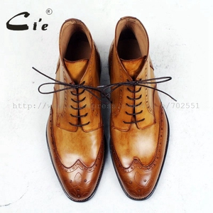 Image 4 - cie round toe full brogues medallion 100%genuine calf leather boot patina brown handmade leather lacing mens ankle boot  A98