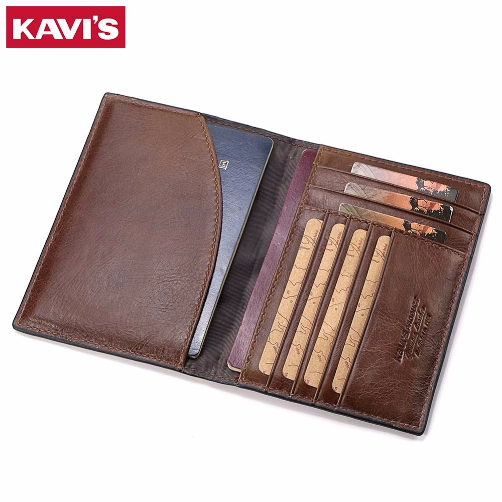 KAVIS Genuine Leather Passport Cover ID Business Card Holder Travel Credit Wallet for Men Purse Case Rfid Driving License Bag