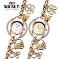 Weiqin de cristal de plata del brazalete del reloj de las mujeres del corazón colgante pulsera relojes de moda de señora rhinestone analógico de cuarzo reloj relojes