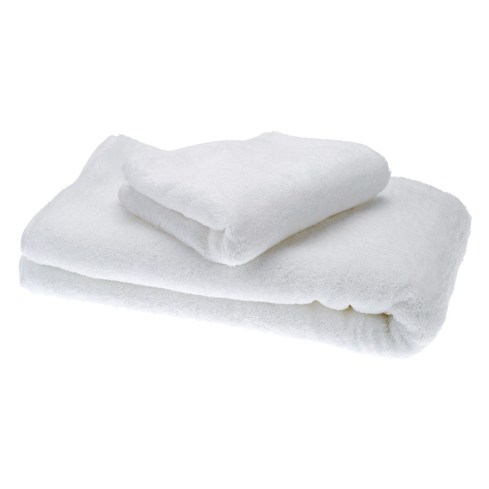 2pcs Towels Set Simple Soft Pure White Cotton Bath Towels Set Drying Towel Washcloth for Hotel Home Use