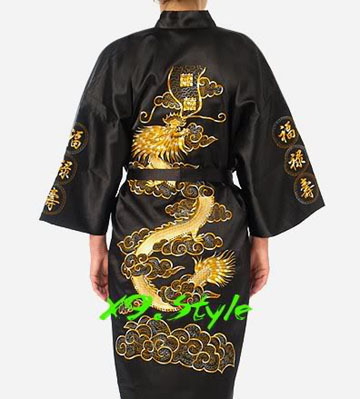 Black Traditional Chinese Men Silk Satin Robe Embroidery Kimono Gown Dragon Summer Sleepwear Large Size 3XL Bathrobe Nightdress