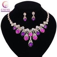 2017 New Fashion Jewelry Women Luxury Brand Rhinestone Rope Chain Collar Necklace Purple Crystal Bib Statement