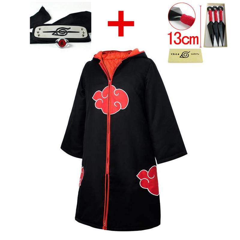 Pain Pein Akatsuki NARUTO Uchiha Sasuke Ninja Cosplay Costumes Thicken Cotton Hoodie Cloak+Headband+Ring+Shuriken Suit Jumpsuits