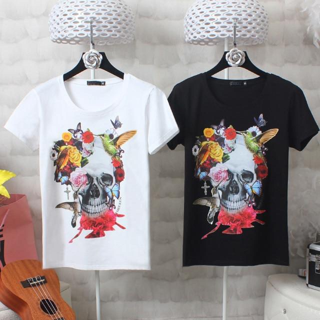 3731b547667 Skull T shirt Women Summer Tops 2019 Short Sleeve Harajuku White Black  Cotton Printed Fashion Ladies