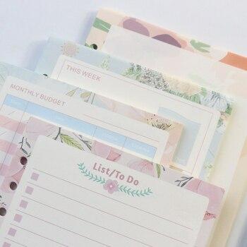 Diseño de flores de dibujos animados domikees 6 agujeros rellenado de papel interior núcleo para cuadernos binder: planificador semanal diario, en blanco, rejilla, lista A5A6
