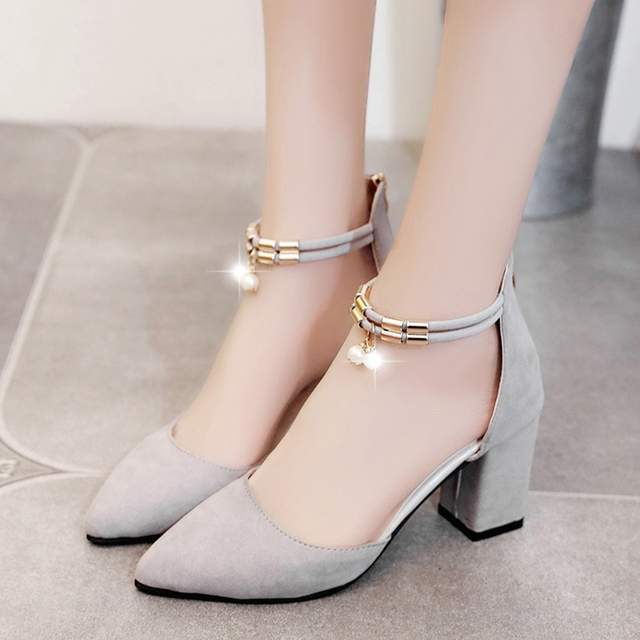 Online Shop Women Pumps Summer High Heels Sandals Casual Elegant Work  Shooes Shallow Pointed Toe Thick Heel Shoes BTW732  88d9dac53533
