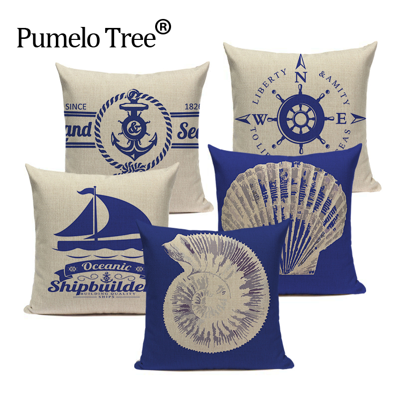 Decorative Nordic Linen Shell Navy Anchor Bedding cushion cover 45Cmx45Cm Square Howseware car-covers Printing Pillow Cover