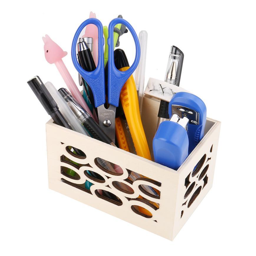 storage container Wooden storage box Hot Makeup Cosmetic Stationery Wooden Board Storage Box Desk Organizer