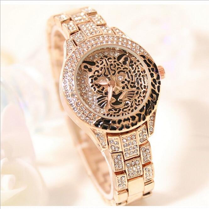 Latest New Women Watches Lady Diamond Stone Dress Watch Steel Leopard Rhinestone Bracelet Wristwatch Female Tiger Crystal Watch 2