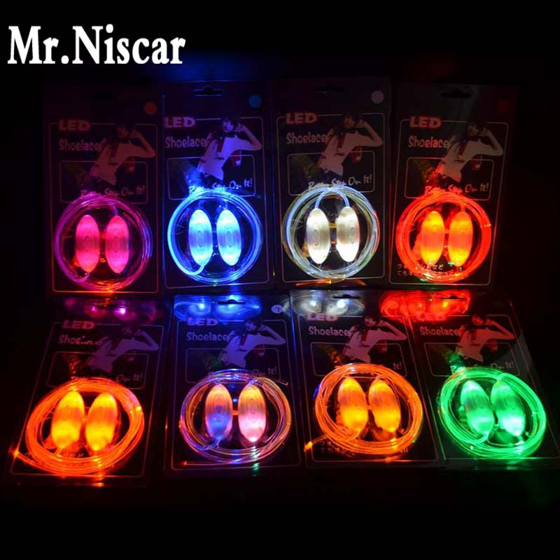 Mr.Niscar 1 Pair Flash Party Glowing Shoe Strings Light Up LED Luminous Shoelaces Boys and Girls Cool LED Sport Shoe Laces Glow glowing sneakers usb charging shoes lights up colorful led kids luminous sneakers glowing sneakers black led shoes for boys