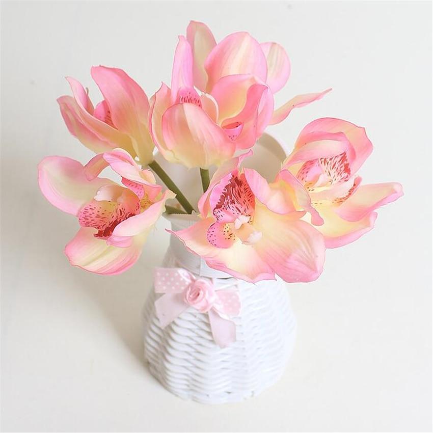 리얼 터치 cymbidium 6 꽃 머리 / 조각 인공 꽃 저렴한 난초 인공 난초 장식 꽃 가정 장식