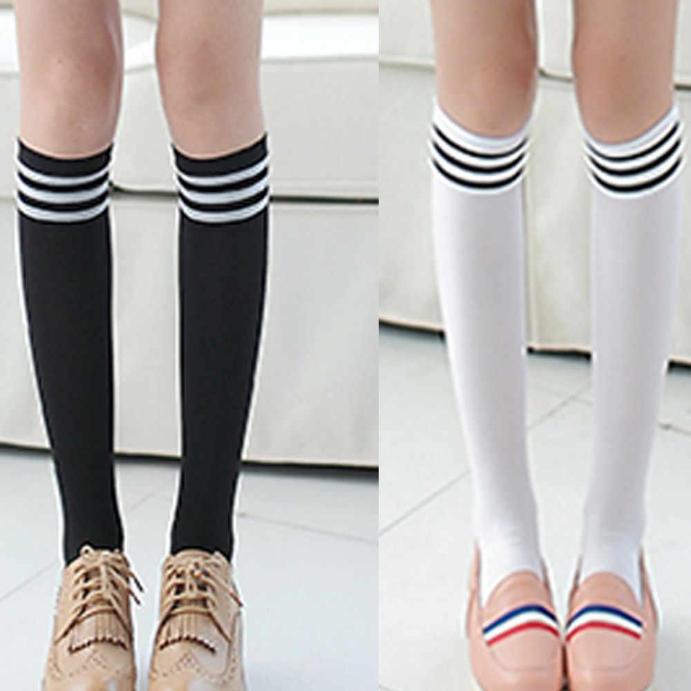 女性ニーソックス新ブラックホワイトグレーネイビーブルー女の子無地ストライプ高腿長綿ストライプストッキングペア新