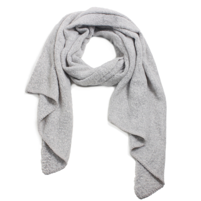 4e2bb5c1d7603 winter scarf shawl for women light grey/blue/black bias ends polyester cozy  soft thick warm gift lady muffler wrap blanket scarf