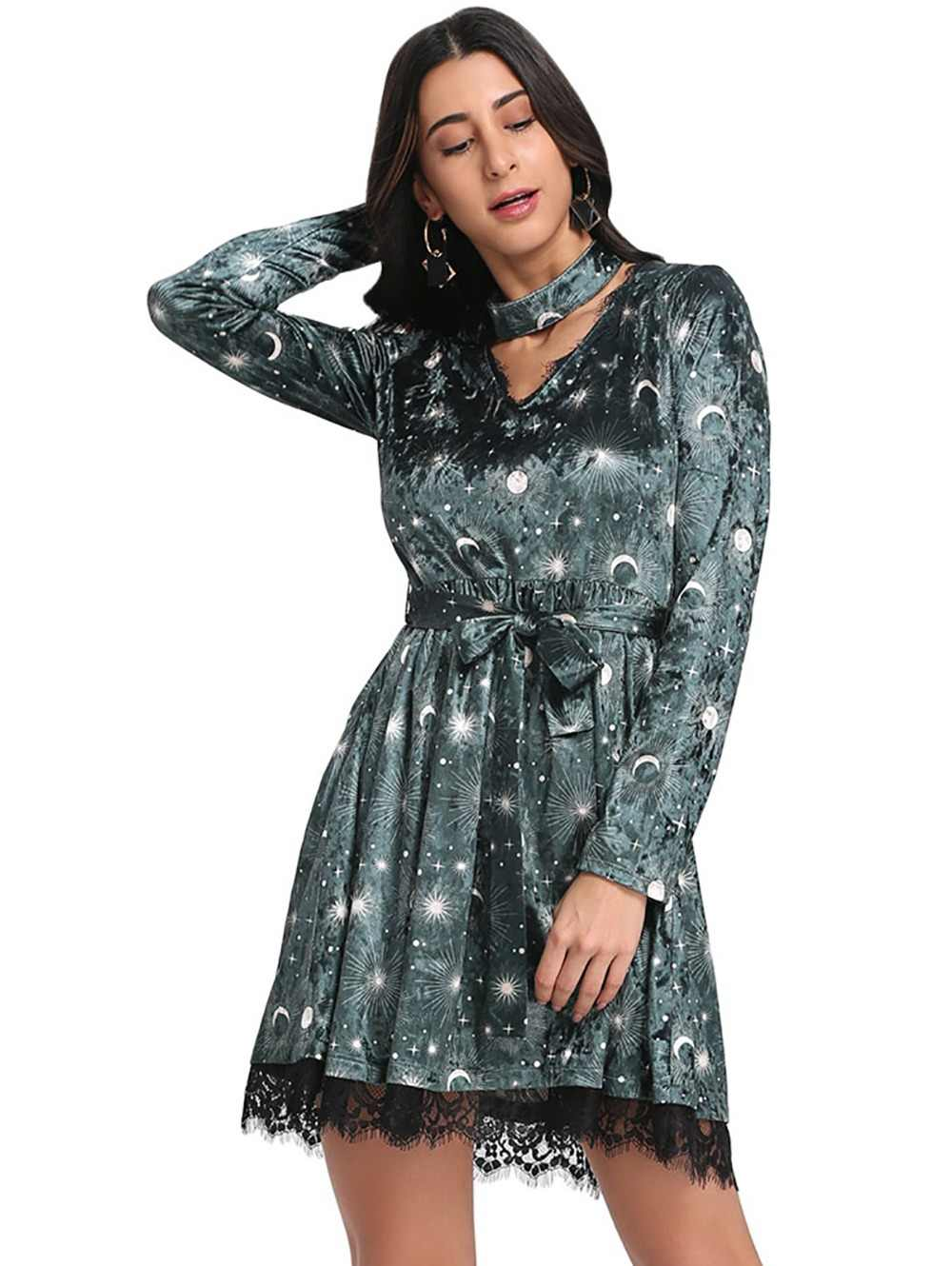 Sovalro  Choker Spliced Lace Belted Moon Star Print Women Velour Dress Sexy V Neck Long Sleeve Spring Autumn Girl A Line Dress