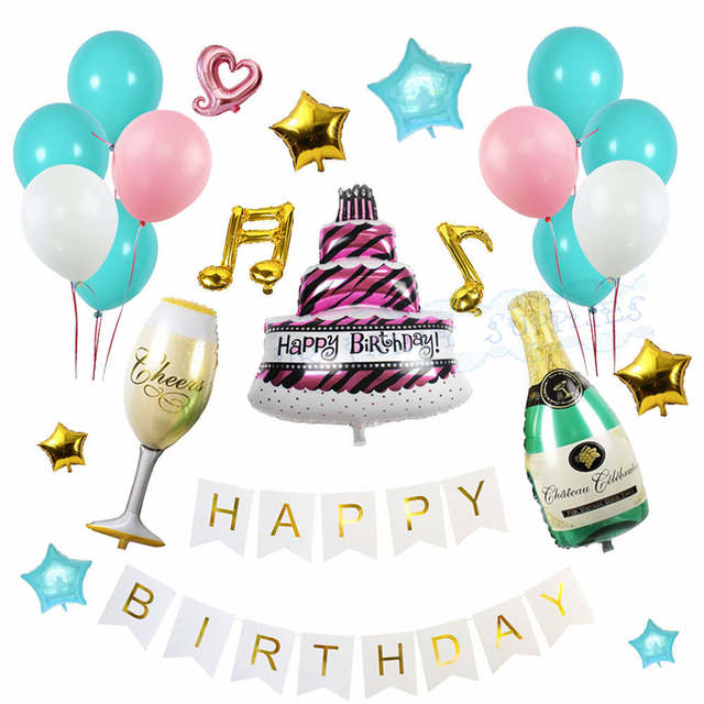Online Shop 10 Sets Happy Birthday Balloons Set Champagne Bottle Glasses Aluminium Star Baby Shower Party Decoration