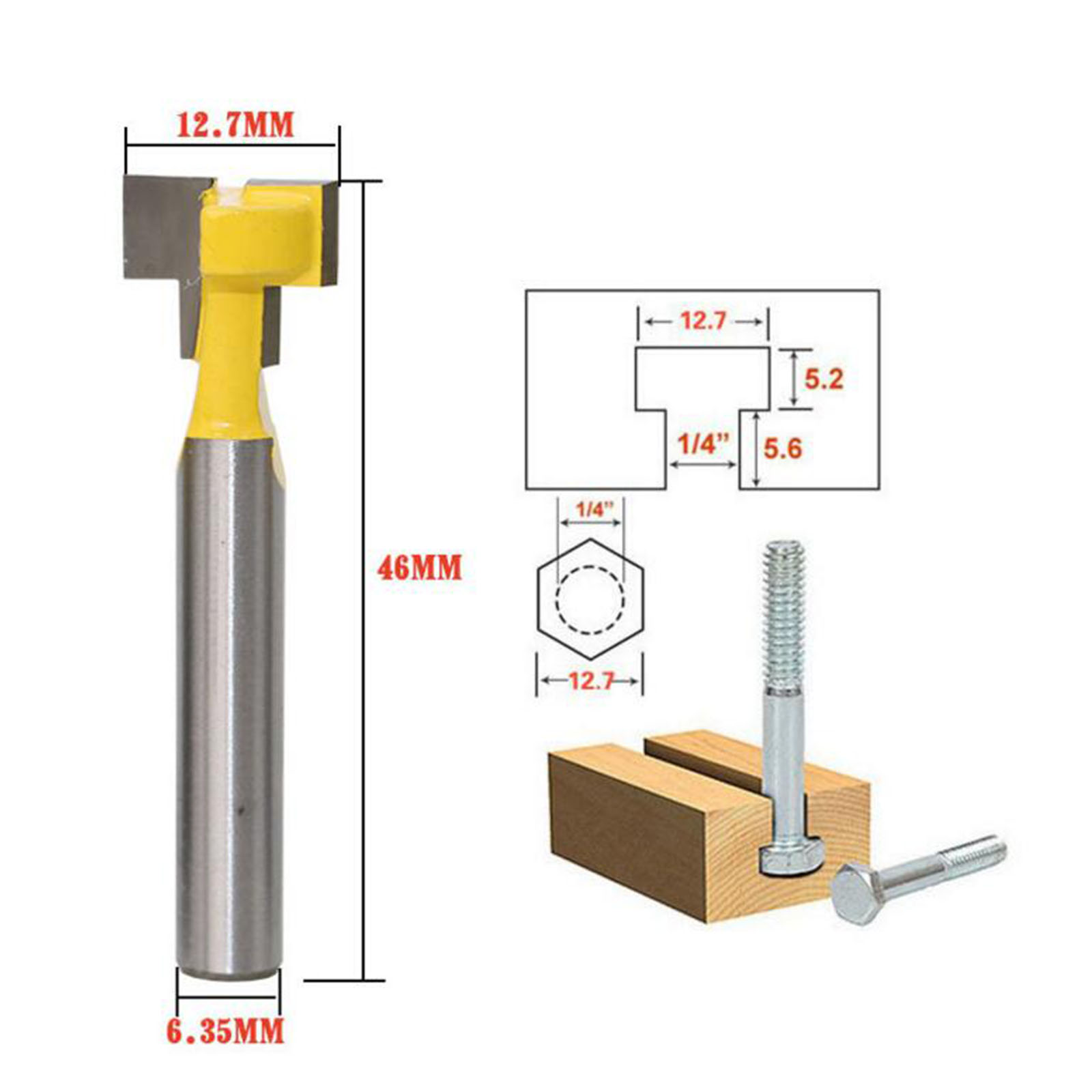 DRELD 1pc Woodworking Tool 1/4 Inch Shank Carbide T Slot Lock Hole Cutter Router Bit Wood Milling Cutter Tool 1/2inch Diameter