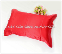 Free Shipping 100 Silk Pillowcase Standard Size 2 Sides Silk Pillow Case Cover Envelope Back Dyed
